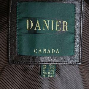 Danier Leather Trench Coat Jacket Brown Medium 90s